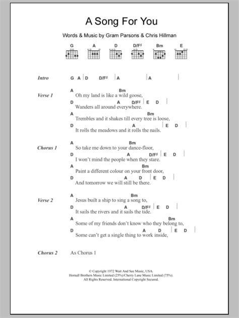 A Song For You by Gram Parsons - Guitar Chords/Lyrics