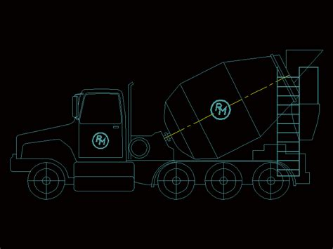 Cement truck in AutoCAD   Download CAD free (6