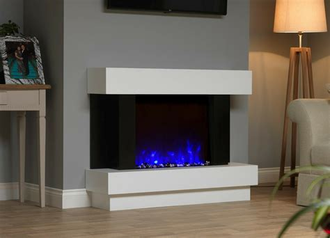WHITE BLACK MODERN WALL MOUNTED SURROUND ELECTRIC FIRE