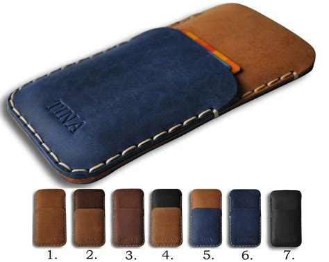 Leather Case for iPhone, Hand Stitched Pouch Credit Card