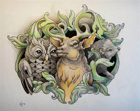 An owl, deer and a hedgehog pose with heraldry designs in