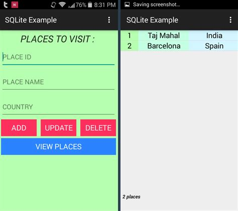 Android Sqlite Database Example • ParallelCodes