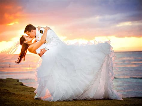 Just Married Loving Couple Bridal In Uniform Young Woman