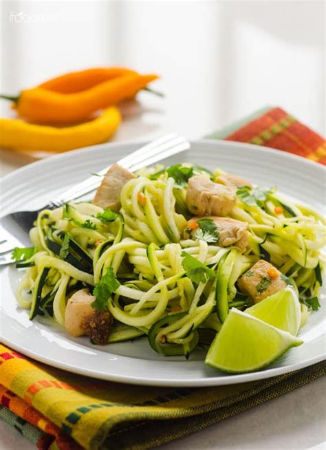 Zucchini Noodles with Chicken, Cilantro and Lime