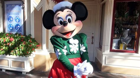 Minnie Mouse Greets us in her Christmas Holiday Outfit at