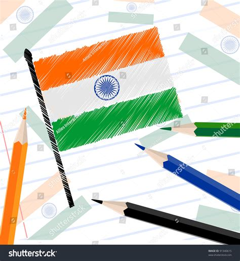 Indian National Flag Sketch With Pencil Colors On Note