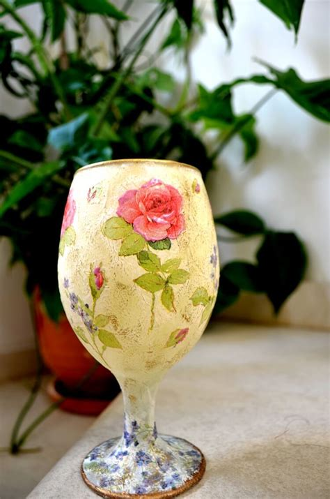 How To Decoupage On Glass With Rice Paper, Napkin, Glitter