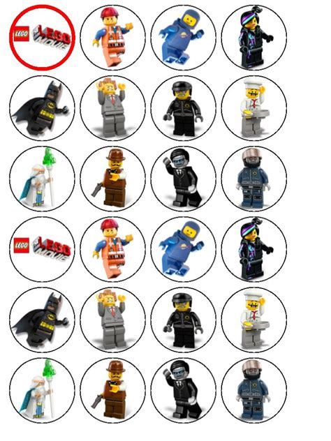 24 x The Lego Movie Edible Wafer Rice Paper Cup Cake Top