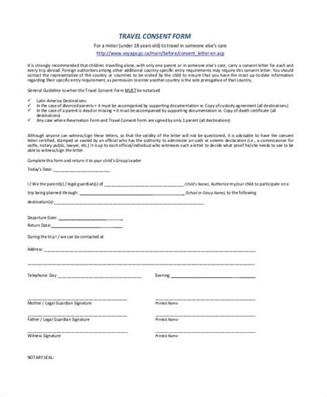 FREE 11+ Sample Travel Consent Forms in PDF | MS Word | Excel