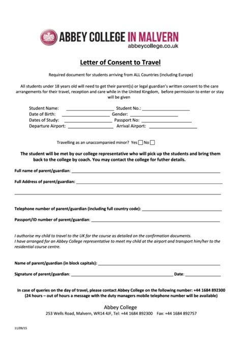 Sample Letter Of Consent To Travel printable pdf download