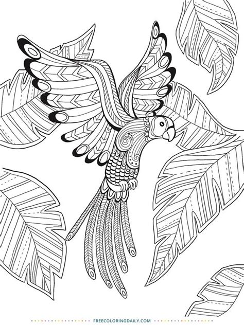 Free Coloring Tropical Bird | Bird coloring pages, Animal