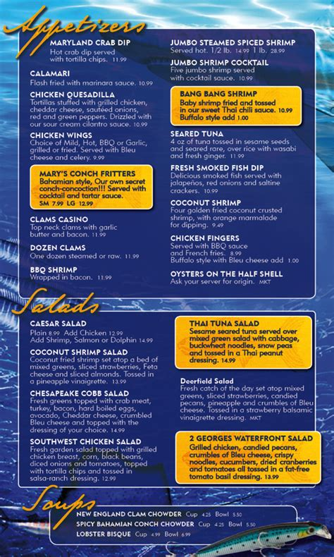 Menu for Two Georges At The Cove (1754 SE 3rd Ct Deerfield