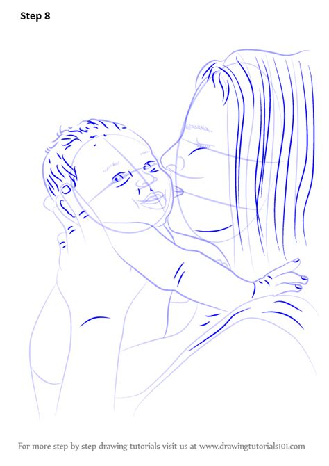 Learn How to Draw Mother Kissing Baby (Other People) Step